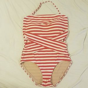 Downeast basics swim Large modest retro stripe EUC